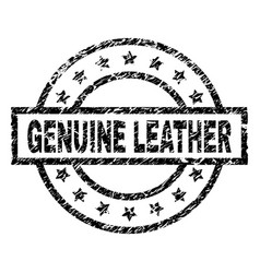 Scratched textured genuine leather stamp seal vector