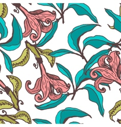 seamless floral pattern with lily flowers vector image