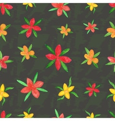 Seamless pattern of summer watercolor flowers vector