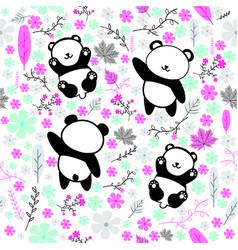Seamless pattern with animal panda vector