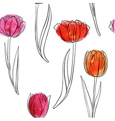 seamless pattern with drawing tulips vector image