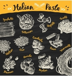 Set drawn Italian pasta sketch vector