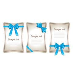 Set of card note with gift bows vector