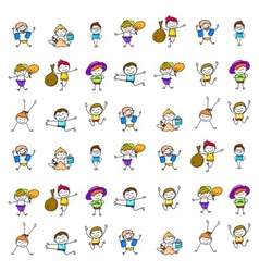 Set of cartoon happy kids vector