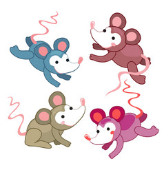 Set of cute mouse in different colors positive vector