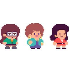 Set of pixel characters vector