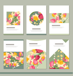 Set with six floral romantic templates tulips vector