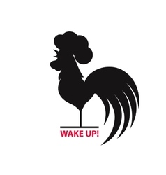 Silhouette of the cock on white background vector image