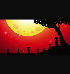 silhouette scene with meerkats and red sky vector image
