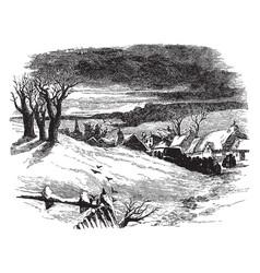 Snowy hilltop vintage vector
