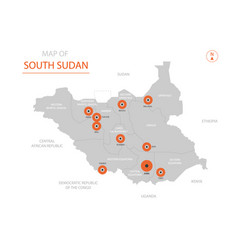 south sudan map with administrative divisions vector image