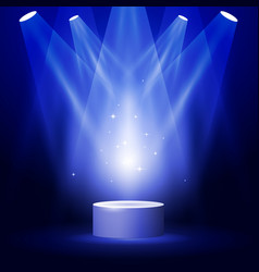 Stage or podium in spotlight rays - award pedestal vector