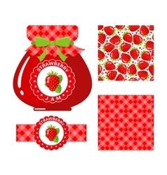 Strawberry jam set vector image