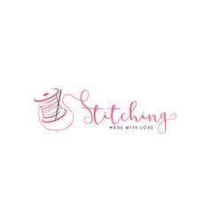 tailor sewing vintage fashion retro logo sign vector image