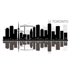 toronto city skyline black and white silhouette vector image