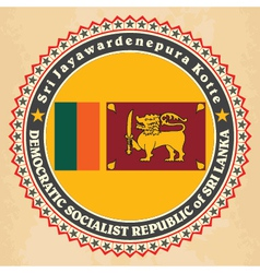 Vintage label cards of Sri Lanka flag vector image