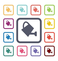 Watering can flat icons set vector