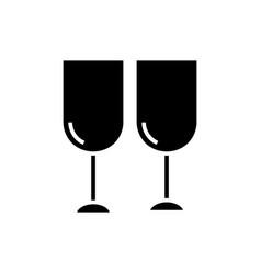 wine glasses icon black sign vector image