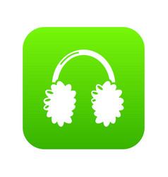 winter headphones icon simple black style vector image