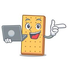 With laptop graham cookies character cartoon vector