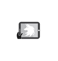 wolf head logo fox face design in a tablet shape vector image
