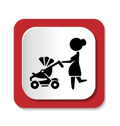 Woman with a stroller icon vector