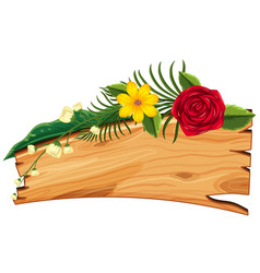 wooden board with flowers and leaves on top vector image