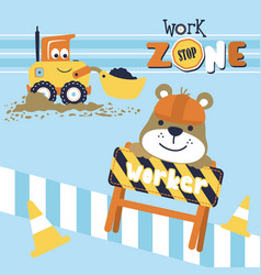 Work zone cartoon funny worker with smiling vector