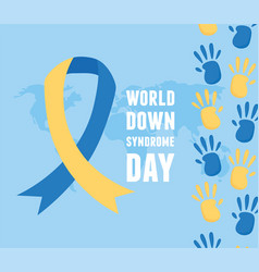 World down syndrome day blue background map ribbon vector