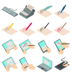 write letter icons set isometric style vector image