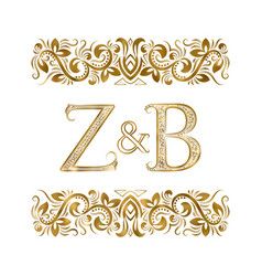 Z and b initials vintage logo letters vector