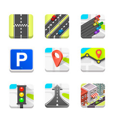 collection of road icons vector image