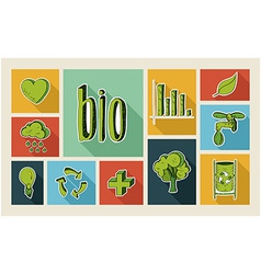 Ecology sketch style flat icon set vector image vector image
