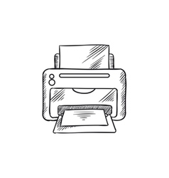 Sketch icon of office inkjet printer with paper vector image vector image