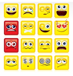 stylized square shaped yellow smileys vector image vector image