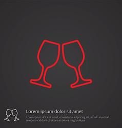 wineglasses outline symbol red on dark background vector image vector image