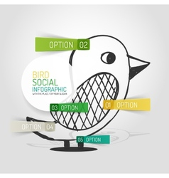 drawn social bird design and infographics vector image vector image