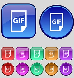 File GIF icon sign A set of twelve vintage buttons vector image