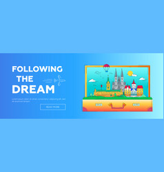 following the dream - line travel web page vector image vector image