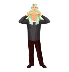grandfather with little girl on shoulders vector image vector image