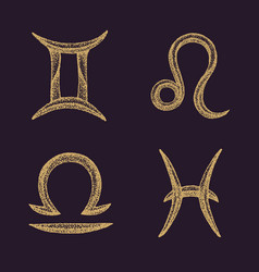 hand drawn zodiac signs set vector image vector image