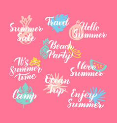 hello summer hand drawn quotes vector image