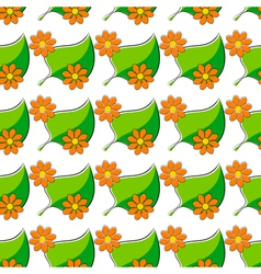Seamless pattern with chamomiles and green leaf vector image vector image