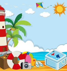Summer theme with objects on the beach vector image vector image