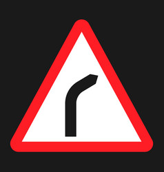 bend to right warning sign flat icon vector image vector image