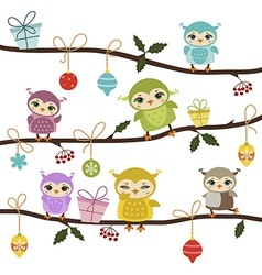 Card with cute owls vector image vector image