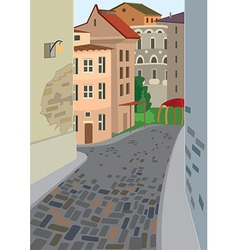 Cartoon street of old town vector image