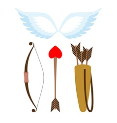 Cupid weapons set Bow and arrow with heart Quiver vector image