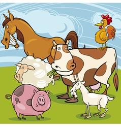 farm animals cartoon group vector image