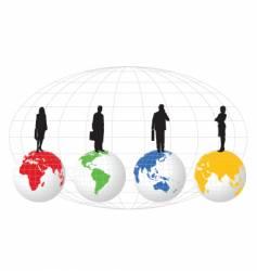 figures on globe vector image vector image